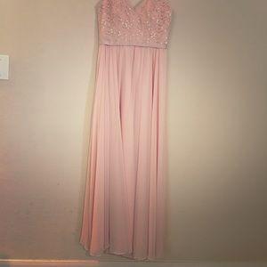 Blush Lace Top Bridesmaid Dress